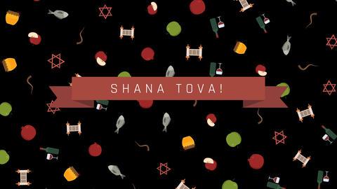 Rosh Hashanah holiday flat design animation background... Stock Video Footage