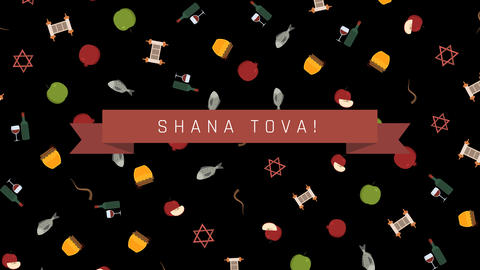 Rosh Hashanah holiday flat design animation background with traditional symbols Animation