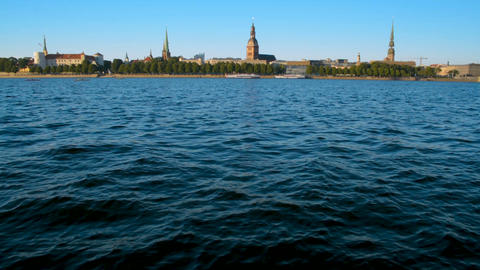 Riga cityscape Old Town panorama with river water for text background copyspace Footage
