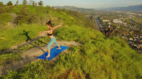Yoga Workout Aerial Archivo