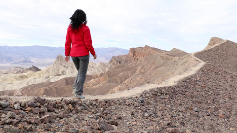 Asian Woman Hiking In Death Valley Live Action
