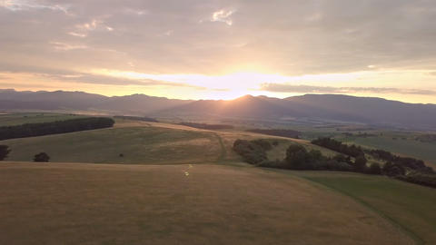 Aerial panoramic sunset in golden landscape Footage