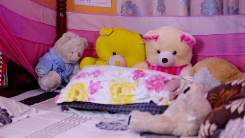 children bedroom with teddy bear in bed at home. zoom out Footage
