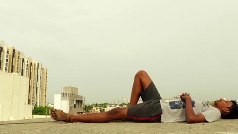 Young man sleeping deeply terrace Footage