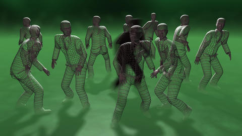 Criminal activity. 3d animation. Dark shadow figure moving among people Animation