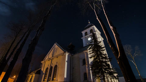 Church lighted in night Time lapse Footage