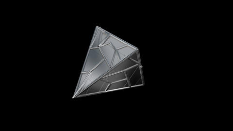 3d geometry rotating techno tetrahedron.3d animation. Black and white alpha Animation