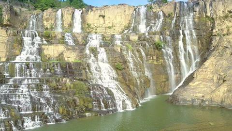 impressive Pongour waterfall cascade along rocks Live Action