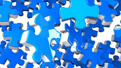 Blue Jigsaw Puzzle On White Background CG動画