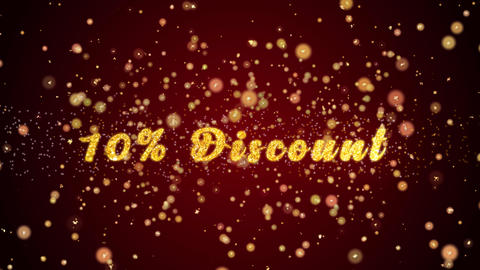 10% Discount Greeting card text shiny particles for celebration,festival Animación