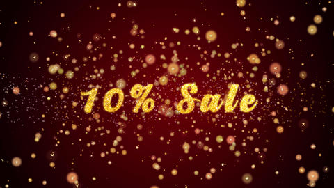 10% Sale Greeting card text shiny particles for celebration,festival Animación