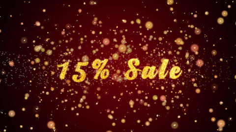 15% Sale Greeting card text shiny particles for celebration,festival Animation