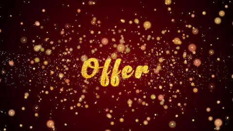 Offer Greeting card text shiny particles for celebration,festival Animation