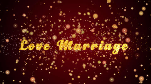 Love Marriage Greeting card text shiny particles for celebration,festival Animación