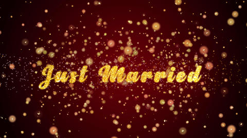 Just Married Greeting card text shiny particles for celebration,festival Animación