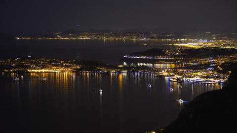 Top view of night Monaco, luxury resort for rich tourists, expensive real estate Live Action