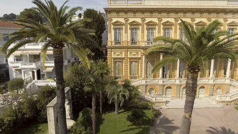 Facade of Fine Arts Museum building in Nice surrounded by greenery, architecture Live Action