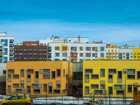 recently populated modern residential block of apartments Photo