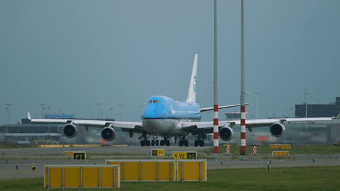Boeing 747 of KLM Airlines is taxiing to runway Footage
