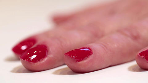 Manicure. Red nails Footage