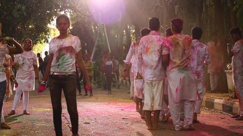 Friends celebrating Holi festival Footage