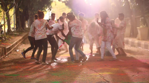 Friends celebrating Holi festival Footage