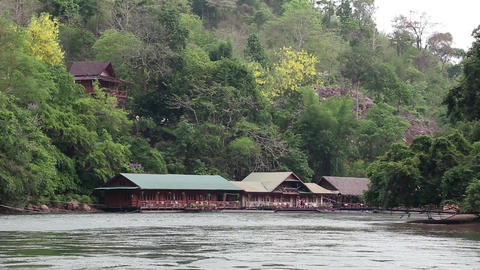Bungalows on the Kwai river in northwestern Thailand Footage