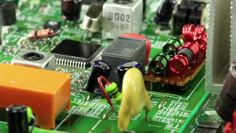 Microcircuit chip with electronic components Footage