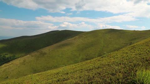 Clouds and green bilberry bushes in beautiful mountains Footage