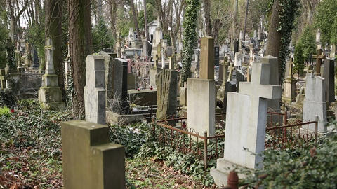 Graves on the Lychakiv Cemetery in Lviv, Ukraine Footage