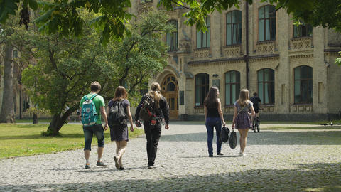 Students life, young men and women walking on university campus, education Footage