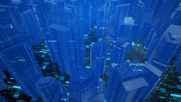 Digital Data City Blocks Background HD Animation