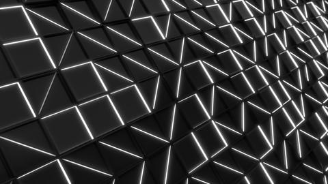 Wall of black rectangle tiles with white glowing elements Animation