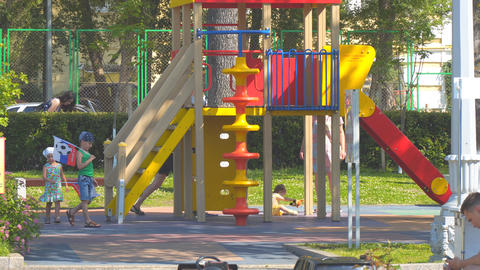 Children playing on the Playground Footage