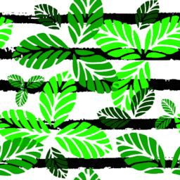 Tropical seamless pattern. Vector background with green leaves and black stripes Vector