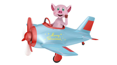Piglet in airplane Merry Christmas3 Animation