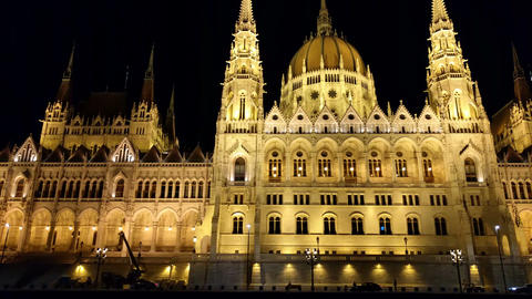 Hungarian Parliament in BudapestVID 20180620 215645 Footage