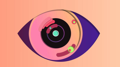 Abstract digital eye in the pink backdrop Animation