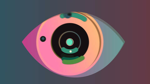 Cheery abstract eye in the grey background Animation