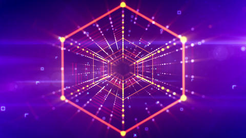 Futuristic hexagonal neon tunnel movement Animation