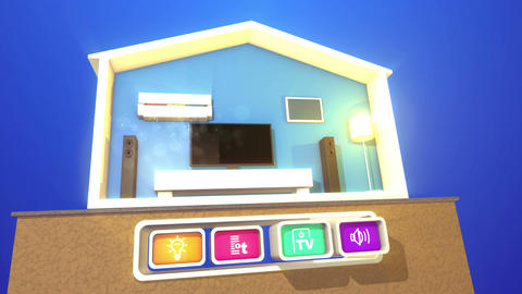 Smart Home Concept with four icons Animation