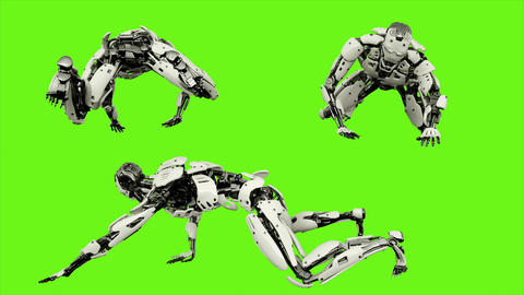 Robot android crawling. Realistic looped motion on green screen background. 4K Animation