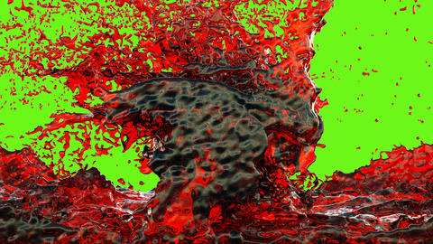 Red ink, Blood splashes, Red liquid Splashing on green screen Animation