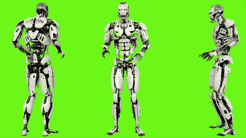 Robot android scared. Realistic looped motion on green screen background. 4K Animation