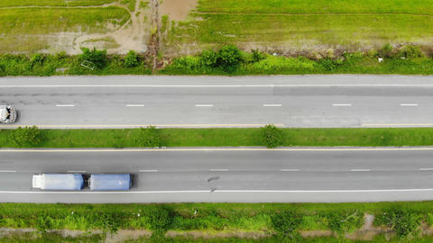 High angle view scenic landscape of highway, Aerial view of the cross road at the countryside, for Live Action