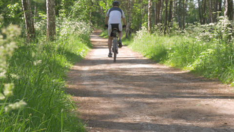Sunny day, a path for outdoor activities. On it people run and ride a bicycle Footage
