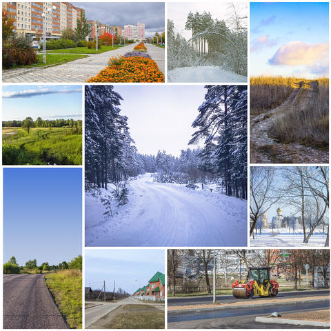 Collage with roads Photo