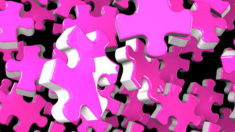 Pink Jigsaw Puzzle On Black Background Animation