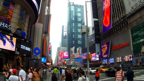 New York, USA - 04 july, 2018: Times Square, featured with Broadway Theaters and Footage