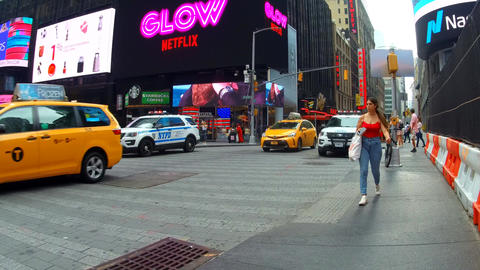 New York, USA - 04 july, 2018: Times Square is the world's most visited tourist Footage